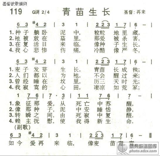 119首青苗生长 - 赞美诗歌谱